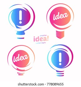 Stylized lightbulbs logo set, new idea and solution abstract symbol, flat bright cartoon incandescent light bulb collection. Isolated simple icon on background