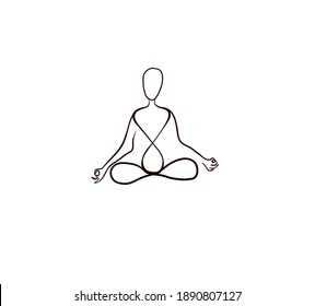 Stylized line silhouette of a man sitting in a lotus position. raster