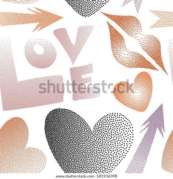 Stylized love elements on a white for print wrapping paper. Arrow, hearts, kissing lips, love text seamless pattern background in orange and purple colors.
