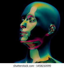 Stylized man head metallic green polished colorful reflections. Iron human face sci-fi golden cyborg creative concept. 3d rendering over black