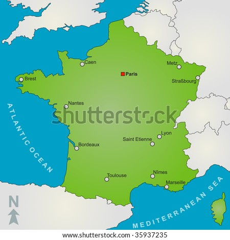 Map Of France Showing Paris.Stylized Map France Showing Several Big Stock Illustration 35937235