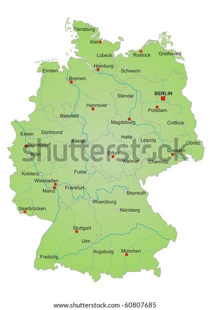 Stylized Map Germany Showing States Rivers Stockillustration ...