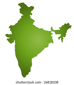 A stylized map of India in green tone. All isolated on white background.