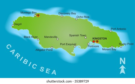 A stylized map of Jamaica showing different big cities.