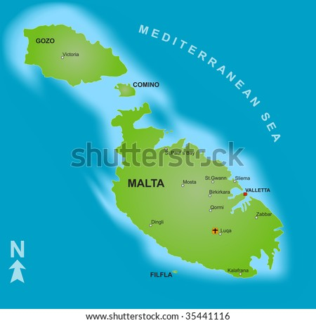 Stylized Map Malta Showing Islands Different Stock Illustration ...