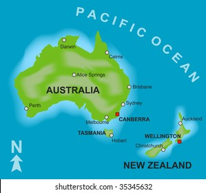 A stylized map showing the countries of Australia and New Zealand.