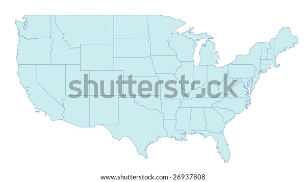 Stylized Map United States America Showing Stock ...