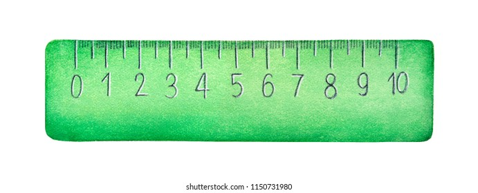 Stylized measuring ruler watercolour illustration. One single object, front view, green color, cute design, 10 centimetres long. Hand painted colorful sketchy drawing, isolated clip art element.