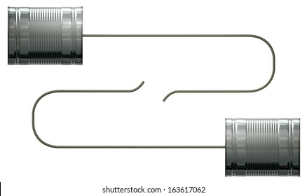 A stylized pair of homemade telephones made from tin cans and connected with a string on an isolated white background