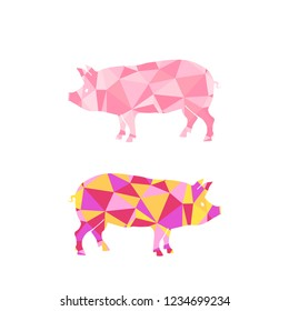 Stylized polygonal pig  illustration. bitmap