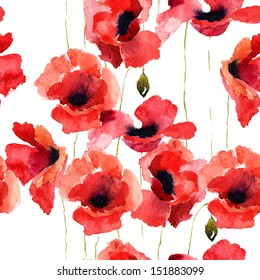 Stylized Poppy flowers illustration, seamless pattern