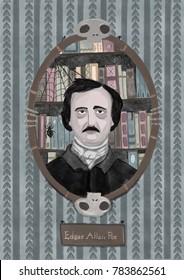 Stylized portrait of Edgar Allan Poe