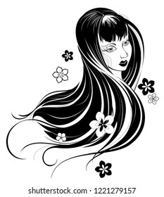 stylized portrait of a girl of Asian type of beauty, with long straight hair on a white background.