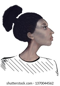 Stylized portrait of a girl on a white background