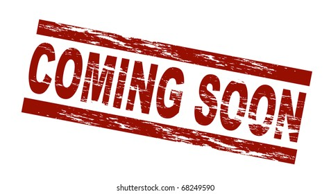 Stylized red stamp showing the term coming soon. All on white background.