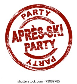 Stylized red stamp showing the term Après-Ski party. All on white background.