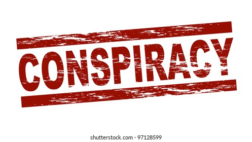 Stylized red stamp showing the term conspiracy. All on white background.
