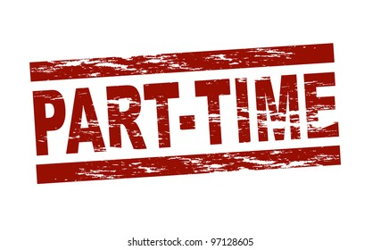 Stylized red stamp showing the term part-time. All on white background.