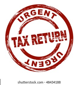 A stylized red stamp that shows the term urgent tax return. All on white background.