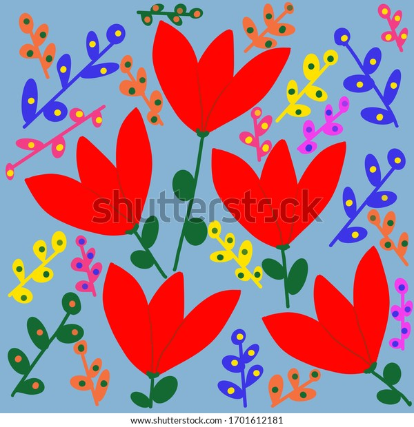 Stylized red tulip pattern on a blue background.