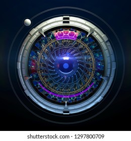 Stylized robotic eye 3d render. Image recognition machine vision neural network deep learning concept illustration.