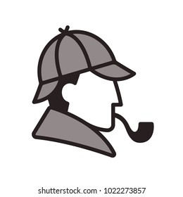 Stylized Sherlock Holmes profile logo. Classic detective with hat and smoking pipe. Simple and minimal portrait icon.