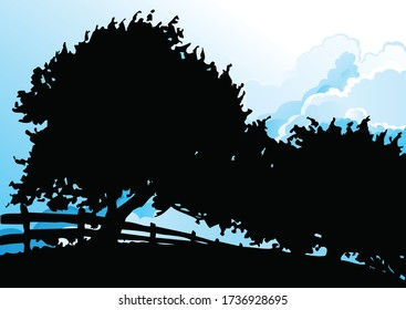 Stylized silhouetted trees and fencing silhouetted against a cloudy blue sky