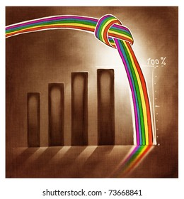 stylized simplified graphic chart with a knotted rainbow over it