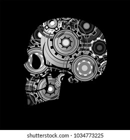 stylized skull on a black background with mechanical gears