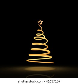 Stylized solitary Christmas tree on the black background