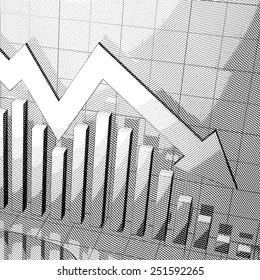 Stylized stock market chart with down arrow