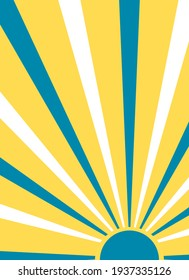 Stylized sun illustration in blue, yellow and white colours. Minimalist wall art design.