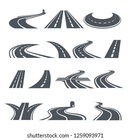Stylized symbols of road and highway. Pictures for logo design