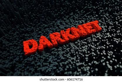 Stylized text darknet. 3D illustration.