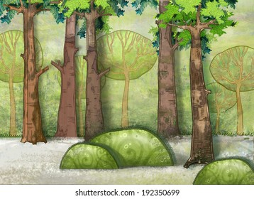 Stylized trees. Forest. exclusive illustration