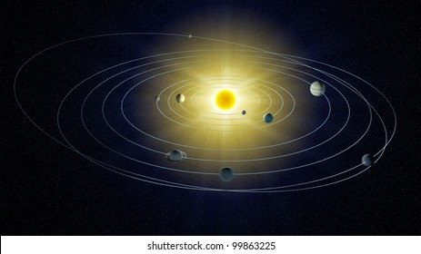 A stylized view of the Solar system.