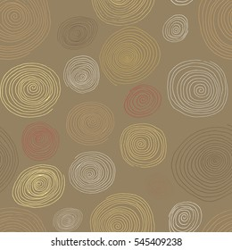 Stylized wooden spirals, hand drawn seamless pattern for interior design, wallpapers and ceramic tiles. illustration