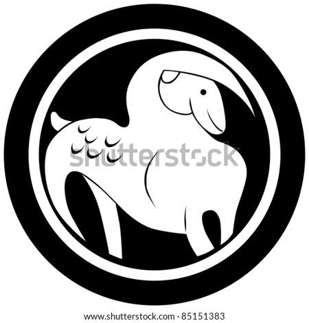 Stylized Zodiac Sign Capricorn Tattoo Isolated Stock Illustration