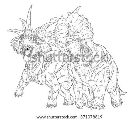 Styracosaurus Pachyrhinosaurus Line Drawing Coloring Books
