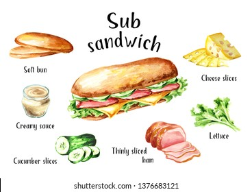 Sub Sandwich with ham, cheese and vegetables ingredients set. Watercolor hand drawn illustration, isolated on white background