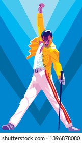 Subang, Indonesia - May 14, 2019 : Freddie Mercury. Portrait of the spirit of the queen band singer. Illustration.