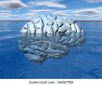 Subconscious mind concept with brain under water.