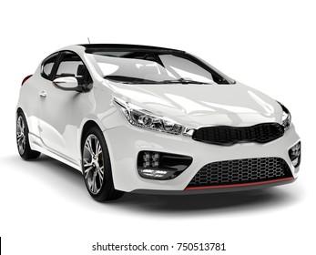 Sublime white modern electric car - front view closeup shot - 3D Illustration
