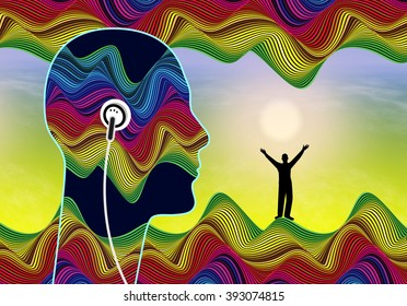Subliminal Audio Messages. Person listening to inaudible stimuli that lie below the conscious awareness to boost his self confidence