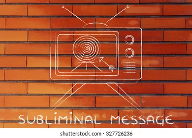 subliminal message and brand communication: old style television screen with target and arrow