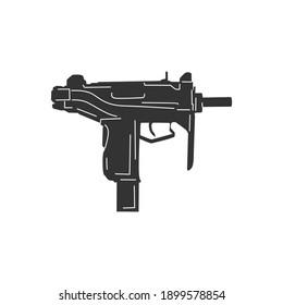 Submachine gun shot logo illustration