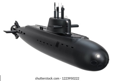 Submarine, 3D rendering isolated on white background