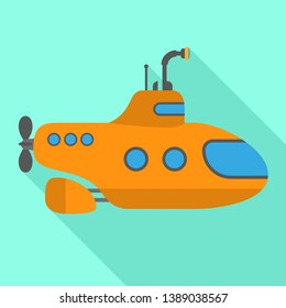 Submarine icon. Flat illustration of submarine icon for web design
