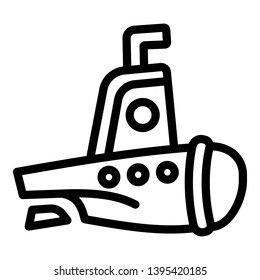 Submarine icon. Outline submarine icon for web design isolated on white background