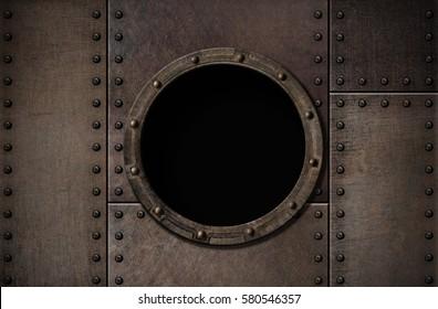 submarine porthole metal rusty background 3d illustration